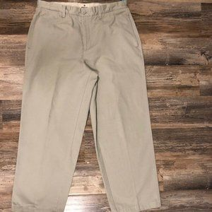 Mens Gap Khaki Relaxed Flat Front Pants 35 X 32